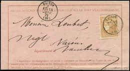 Let EMISSION DE BORDEAUX - 43A  10c. Bistre, R I, Obl. Càd T16 VAISON 14/1/71 Répété à Côté S. Avis De Chargement, TTB - 1870 Uitgave Van Bordeaux