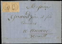 Let EMISSION DE BORDEAUX - 43Ab 10c. Bistre-VERDATRE R I, PAIRE Obl. GC 3776 S. LAC, Càd T17 ST MICHEL De MAURIENNE 18/1 - 1870 Ausgabe Bordeaux