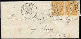 Let EMISSION DE BORDEAUX - 43Ba 10c. Bistre Orangé, R II, PAIRE Obl. GC 307 S. LSC, Càd T17 BAR-S-SEINE 12/4/71, TTB - 1870 Ausgabe Bordeaux