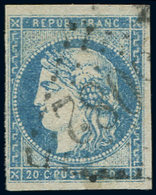 EMISSION DE BORDEAUX - 44A  20c. Bleu, T I, R I, Obl. GC 3082, TB - 1870 Ausgabe Bordeaux
