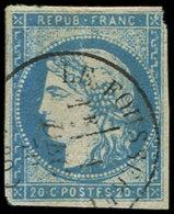 EMISSION DE BORDEAUX - 44A  20c. Bleu, T I, R I, Obl. Càd T16 LE FOUSSERET, Un Angle Coupé, Frappe Superbe - 1870 Ausgabe Bordeaux