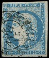 EMISSION DE BORDEAUX - 44A  20c. Bleu, T I, R I, Obl. Càd T17, Position 9, TB - 1870 Bordeaux Printing