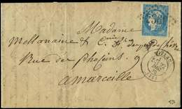 Let EMISSION DE BORDEAUX - 44B  20c. Bleu, T I R II Obl. GC 2360 S. LAC, Càd T17 MILLAU 22/12/70, TB - 1870 Uitgave Van Bordeaux