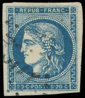 EMISSION DE BORDEAUX - 45A  20c. Bleu, T II, R I, Obl. GC Léger, TB/TTB - 1870 Ausgabe Bordeaux