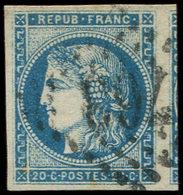 EMISSION DE BORDEAUX - 45A  20c. Bleu, T II, R I, Obl. GC, Voisin à Droite, TTB - 1870 Bordeaux Printing