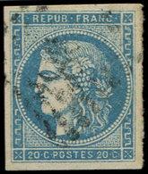 EMISSION DE BORDEAUX - 45B  20c. Bleu, T II, R II, Obl. GC, TB - 1870 Bordeaux Printing