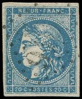 EMISSION DE BORDEAUX - 45C  20c. Bleu, T II, R III, Obl. GC, TB - 1870 Bordeaux Printing