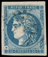 EMISSION DE BORDEAUX - 45C  20c. Bleu, T II, R III, Variété ANNEAU LUNE, Obl. GC, TB. J - 1870 Bordeaux Printing