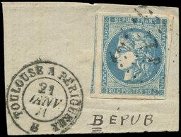 EMISSION DE BORDEAUX - 46A  20c. Bleu, T III, R I, Variété BEPUB, Voisin à Gauche, Obl. Amb. TP Sur Fragt, Càd TOULOUSE - 1870 Ausgabe Bordeaux