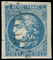 EMISSION DE BORDEAUX - 46B  20c. Bleu, T III, R II, Obl. GC, Frappe Légère, Belles Marges, TTB/Superbe - 1870 Emission De Bordeaux
