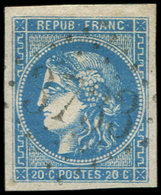 EMISSION DE BORDEAUX - 46B  20c. Bleu, T III, R II, Obl. GC 3732, Frappe Superbe, TTB - 1870 Ausgabe Bordeaux