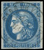 EMISSION DE BORDEAUX - 46B  20c. Bleu, T III, R II, Obl. Càd GARE De VIERZON, TB - 1870 Emission De Bordeaux