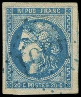 EMISSION DE BORDEAUX - 46B  20c. Bleu, T III, R II, Obl. GC BLEU 4351, TB - 1870 Uitgave Van Bordeaux