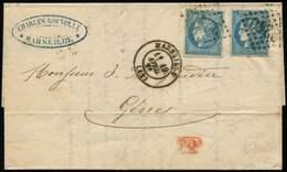 Let EMISSION DE BORDEAUX - 46B  20c. Bleu, T III, R II, 2 Ex. Obl. GC 2240 S. LAC, Càd T17 MARSEILLE 19/4/71, Arr. GENOV - 1870 Bordeaux Printing