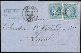 Let EMISSION DE BORDEAUX - 46B (2) Pos. 3 Et 10, Obl. GC 99 S. LAC, Càd T17 ANGERS 8/4/71, TTB - 1870 Bordeaux Printing