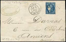 Let EMISSION DE BORDEAUX - 46Bh 20c. OUTREMER, T III, R II, Un Filet Touché, Obl. ETOILE 5 S. LAC, Càd R. De BONDY 3/6/7 - 1870 Emission De Bordeaux