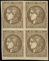 * EMISSION DE BORDEAUX - 47a  30c. Brun Clair, BLOC De 4, PAIRE Du Bas **, TTB. Br - 1870 Bordeaux Printing