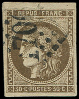 EMISSION DE BORDEAUX - 47   30c. Brun, Oblitéré GC, TB - 1870 Uitgave Van Bordeaux