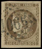 EMISSION DE BORDEAUX - 47a  30c. Brun Clair, Obl. GC 1065, TTB - 1870 Ausgabe Bordeaux