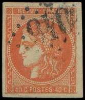 EMISSION DE BORDEAUX - 48   40c. Orange, Oblitéré GC, TB/TTB - 1870 Bordeaux Printing