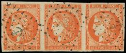 EMISSION DE BORDEAUX - 48   40c. Orange, BANDE De 3 Obl. ANCRE, TTB - 1870 Emission De Bordeaux