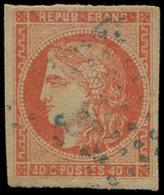 EMISSION DE BORDEAUX - 48d  40c. ROUGE SANG Clair, Obl. BLEUE, TB - 1870 Uitgave Van Bordeaux