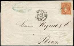 Let EMISSION DE BORDEAUX - 48   40c. Orange, Obl. ETOILE 4 Sur LAC, Càd Rue D'Enghien 29/7/71, Arr. NEVERS 30/7, TB - 1870 Bordeaux Printing