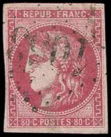 EMISSION DE BORDEAUX - 49   80c. Rose, Oblitéré GC, TB - 1870 Emission De Bordeaux