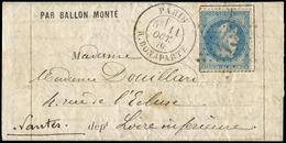 Let BALLONS MONTES - N°29B Obl. Etoile 15 S. LAC Formule, Càd R. Bonaparte 11/10/70, Arr. NANTES 15/10, TTB. LE LOUIS BL - Postmark Collection (Covers)
