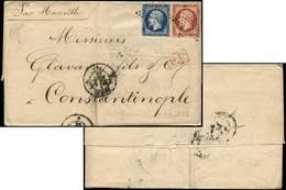 Let DESTINATIONS - N°14A Touché + 17A Obl. Etoile S. LAC, Càd PARIS 2/8/56 Pour CONSTANTINOPLE, Arr. Illisible Au Verso, - Marcophilie (Lettres)