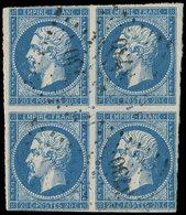 LETTRES ET OBLITERATIONS D'ALGERIE - N°14A 20c. Bleu, BLOC De 4, 2 Ex. Filet Touché, Obl. PC 3730 De MOSTAGANEM, B/TB - Marcophilie (Lettres)