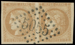 LETTRES ET OBLITERATIONS D'ALGERIE - N°43B PAIRE, 1 Ex. Filet Coupé, Obl. GC 5055 De PHILIPPEVILLE, Frappe Superbe - Marcophilie (Lettres)