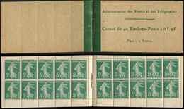 CARNETS (N°Cérès Jusqu'en1964) - 11   Semeuse Camée,  5c. Vert, N°137A, T II, Couverture Papier Mince Et Timbres Papier - Carnets