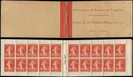 CARNETS (N°Cérès Jusqu'en1964) - 20   Semeuse Camée, 10c. Rouge, N°138A, T IC, Couv. Postale, Légères Adh., Sinon TB - Carnets
