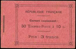 CARNETS (N°Cérès Jusqu'en1964) - 23c  Semeuse Camée, 10c. Rouge, N°138B, T II, Carnet De 30, Papiers Mélangés, Qqs Rouss - Carnets