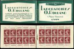 CARNETS (N°Cérès Jusqu'en1964) - 28   Semeuse Camée, 15c. Brun-lilas, N°189, T I, Laboratoires ROLLAND, Gomme Parfaite, - Carnets