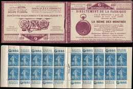 CARNETS (N°Cérès Jusqu'en1964) - 53   Semeuse Camée, 30c. Bleu, N°192A, T IIB, S. 102-O-B, LA REINE DES MONTRES, TB - Carnets