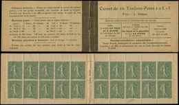 CARNETS (N°Cérès Jusqu'en1964) - 68   Semeuse Lignée, 15c. Vert-olive, N°130D, T V, Loi Du 30/12/1916, TTB - Carnets