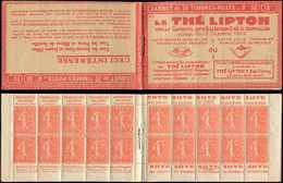 CARNETS (N°Cérès Jusqu'en1964) - 97   Semeuse Lignée, 50c. Rouge, N°199B, T IIB, S. 173-SA, LIPTON, TB - Carnets