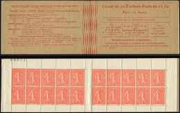 CARNETS (N°Cérès Jusqu'en1964) - 124  Semeuse Lignée, 50c. Rouge, N°199D, T IV, Couverture Postale Dos Strié, TB - Carnets