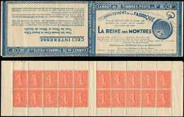 CARNETS (N°Cérès Jusqu'en1964) - 125  Semeuse Lignée, 50c. Rouge, N°199D, T IV, S. 161, REINE DES MONTRES, Qqs Adh. De C - Carnets