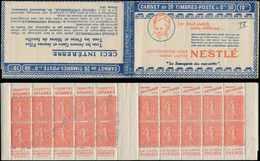 CARNETS (N°Cérès Jusqu'en1964) - 128  Semeuse Lignée, 50c. Rouge, N°199D, T IV, S. 182, NESTLE, Petit Défaut En Couv. 4, - Carnets