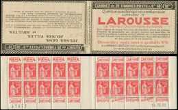 CARNETS (N°Cérès Jusqu'en1964) - 179  Paix, 50c. Rouge, N°283, T I, S. 276, LAROUSSE, Daté 16/12/32, N°41821, Infime Adh - Carnets