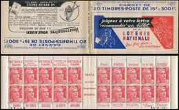 CARNETS (N°Cérès Jusqu'en1964) - 251  Gandon, 15f. Rouge, N°813A, T II, S. 1, LOTERIE NATIONALE, TB - Carnets