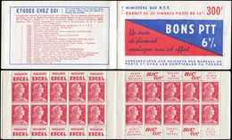 CARNETS (N°Cérès Jusqu'en1964) - 285  Muller, 15f. Rose, N°1011, S. 2-55, BONS PTT, TB - Carnets