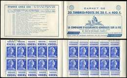 CARNETS (N°Cérès Jusqu'en1964) - 330  Muller, 20f. Bleu, N°1011B, T I, S. 15-58, ASSURANCES VIE, N°09058 Daté 26/9/58 (t - Carnets