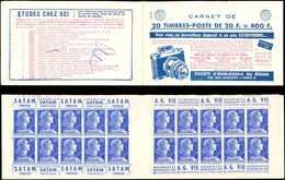 CARNETS (N°Cérès Jusqu'en1964) - 359  Muller, 20f. Bleu, N°1011BB, T II, S. 9-57, HORLOGERIE DU DOUBS, Marques Au Stylo - Carnets