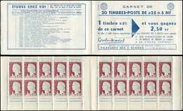 CARNETS (N°Cérès Jusqu'en1964) - 368  Marianne De Decaris, 0,25 Gris Et Grenat, N°1263, T I, S. 1-61, 3 SUISSES, TB - Carnets