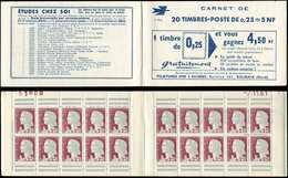 CARNETS (N°Cérès Jusqu'en1964) - 369  Marianne De Decaris, 0,25 Gris Et Grenat, N°1263, T I, S. 17-61, 3 SUISSES, Daté 7 - Carnets
