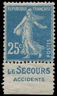 * TIMBRES DE CARNETS - 140c  Semeuse Camée, 25c. Bleu, T II, Pub LE SECOURS, TB - Carnets